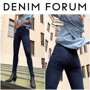 Denim Forum The Lola High Rise Skinny Jeans Inky